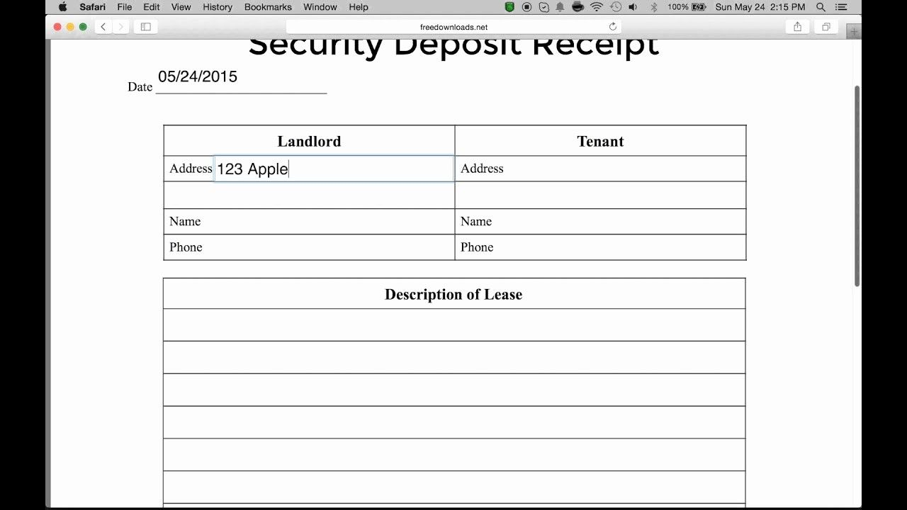Fresh How To Write A Security Deposit Receipt Form Pdf Receipt Template Free Receipt Template Templates
