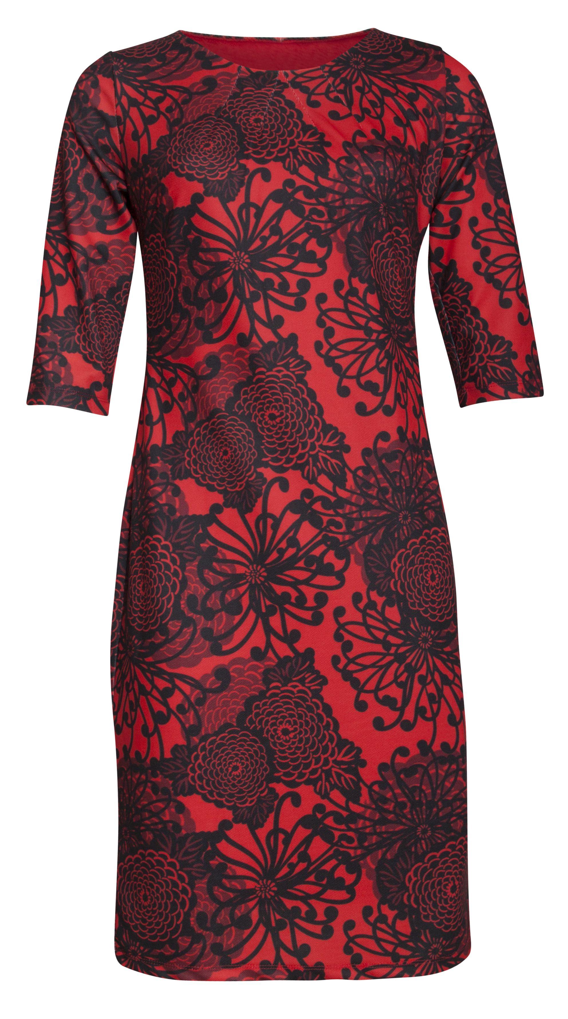 11f7a87df1b8c0 Mooie rode jurk met zwarte bloemenprint van het merk Smashed Lemon ...