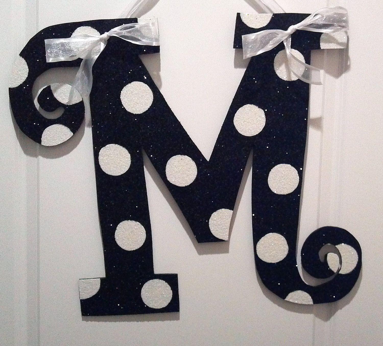 Glitter letter decorations m pinterest for Shoulder decoration 9 letters