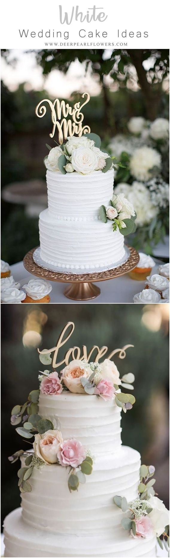Elegant White Wedding Cake Ideas Wedding Cake Trends And Ideas Weddings Cakes Wedding Romantic Wedding Cake Wedding Cakes With Cupcakes Wedding Day Wishes