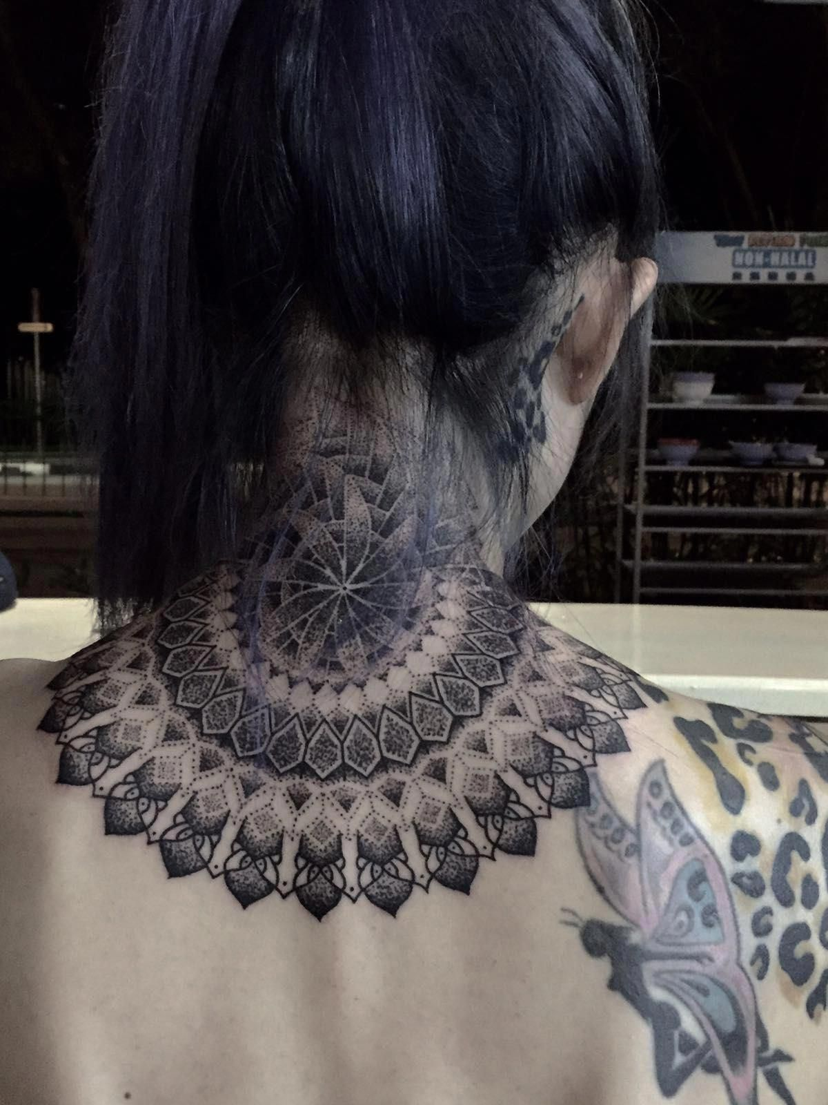 amber rose tattoos on back Tattoosonback Nape tattoo