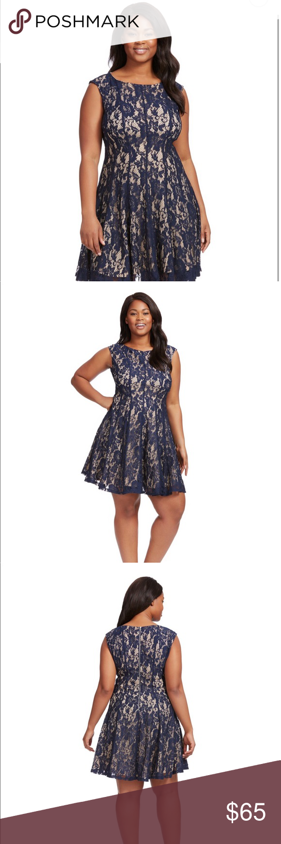 22ebedd69a15 Sleeveless Lace Detail Dress In Nude And Navy Sleeveless lace fit-and-flare  dress with boat neck