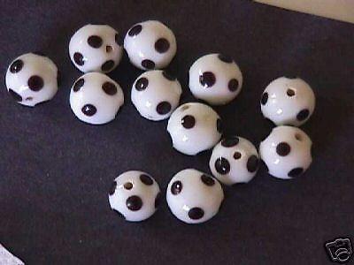 White and Black Polka Dot Glass Beads 12mm