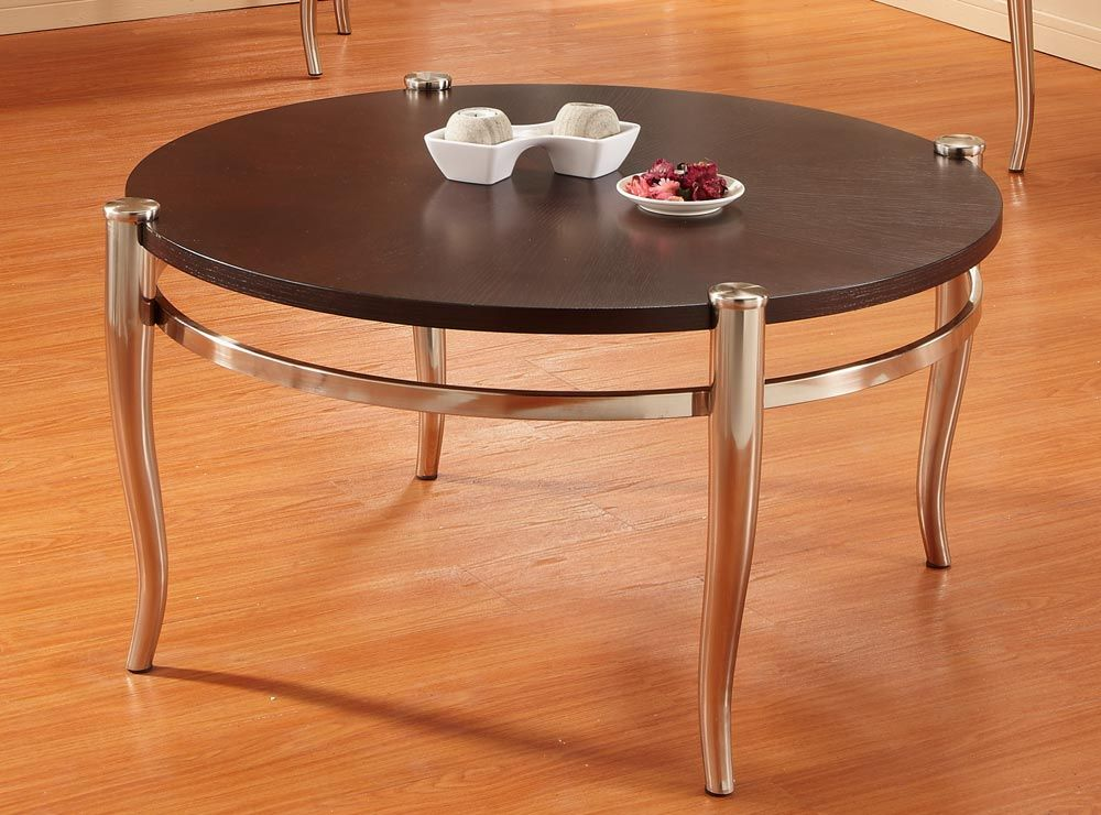 Homelegance Coffey Round Cocktail Table Brushed Nickel Table