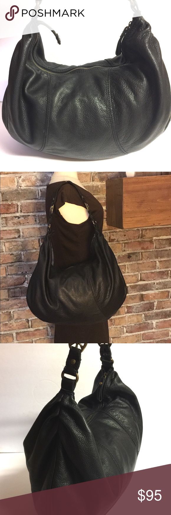 Lucky Brand Large Slouch Boho Leather Peace Bag Super cute premium 100%  Leather boho b8001d876c