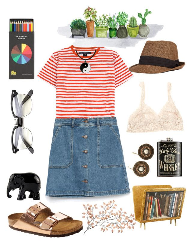 """""""A little ant adventure"""" by heartbeat-stead ❤ liked on Polyvore featuring Marc by Marc Jacobs, Zara, Birkenstock, The Elephant Family, Polite, Fornasetti, Hanky Panky and Carolina Glamour Collection"""