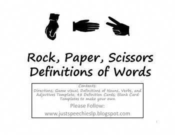 Rock Paper Scissors Definitions of Words for Nouns Verbs
