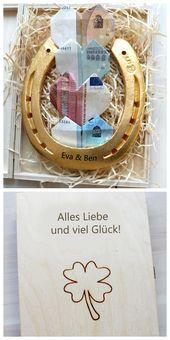 Photo of Vergoldetes Hufeisen mit Gravur für extra Glück in der Ehe, Geschenkidee zur H…