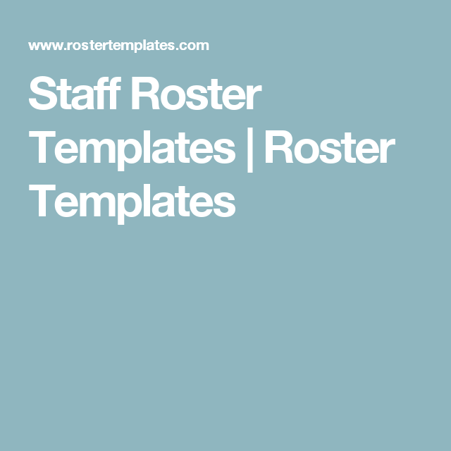 Staff Roster Templates  Roster Templates  Office Work