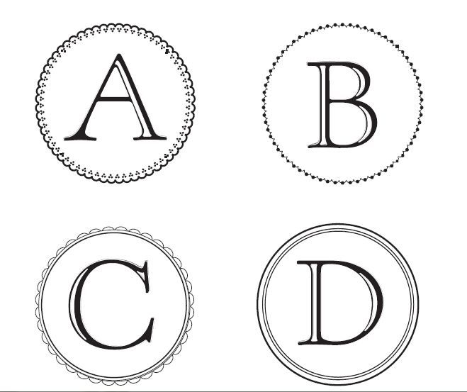 Monogram letters template the image kid for Free printable word wall templates