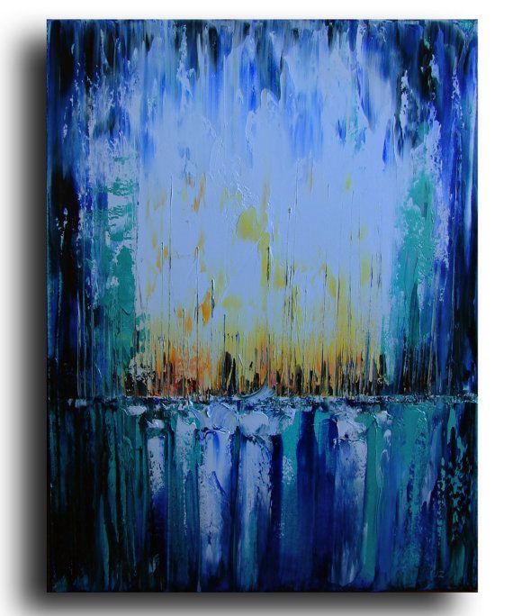 24 Original Landscape Painting thick texture art by studiomosaic, $175.00