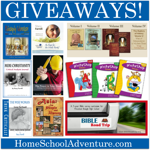 9 great homeschool giveaways. All end at 1159PM ET on September 22. @writebonnierose  @writingwithshar @WriteShop @ttdiligently @danikacooley @homeschooladven
