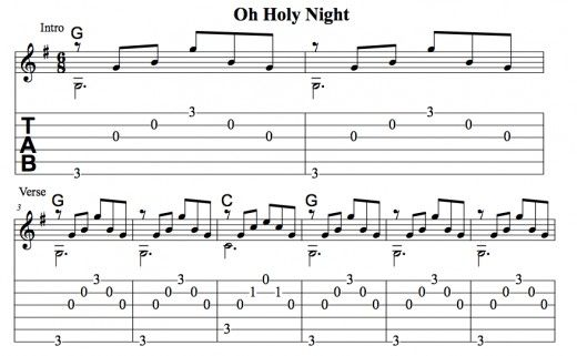 Easy Guitar Christmas Songs Oh Holy Night Arpeggios Chords Melody Tab Videos Guitar Duet Guitar Lessons Songs Holiday Songs Holy Night Lyrics