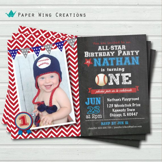 Baseball Birthday Invitation Baby Boy First Birthday invite 1st