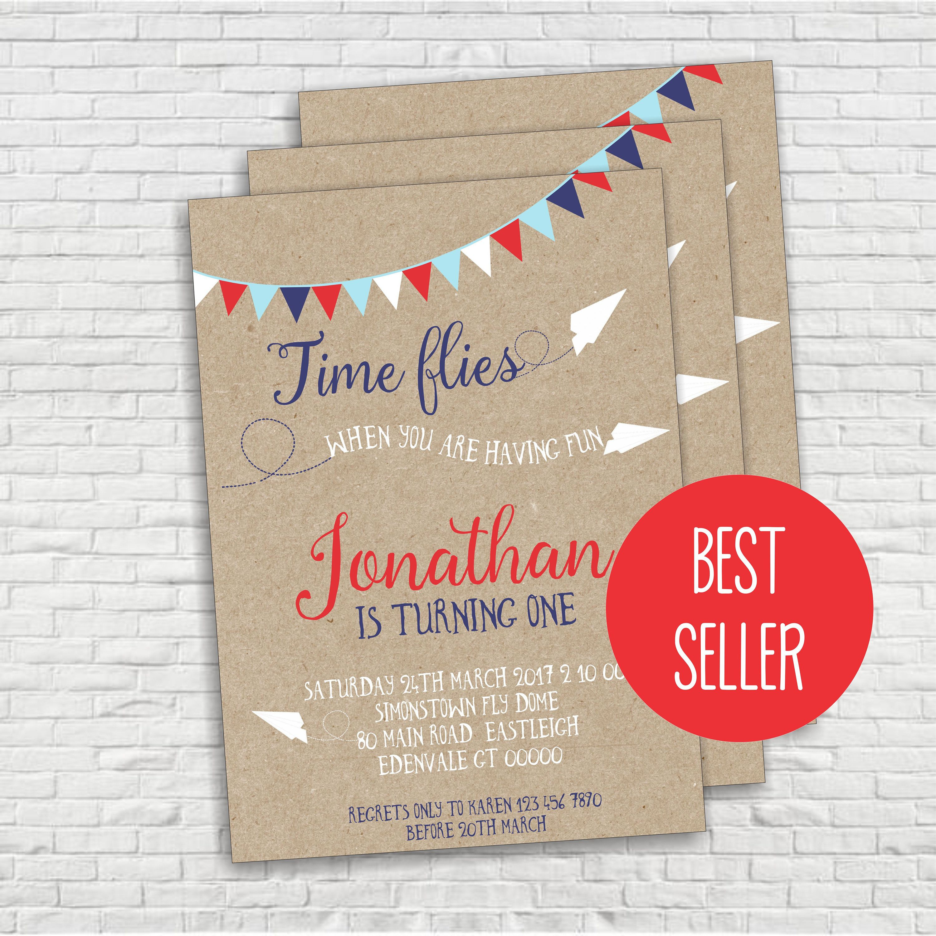 Airplane Birthday Invitation Paper First How Time Flies Plane Editable Digital INSTANT DOWNLOAD By ICandyPartyPrintable On