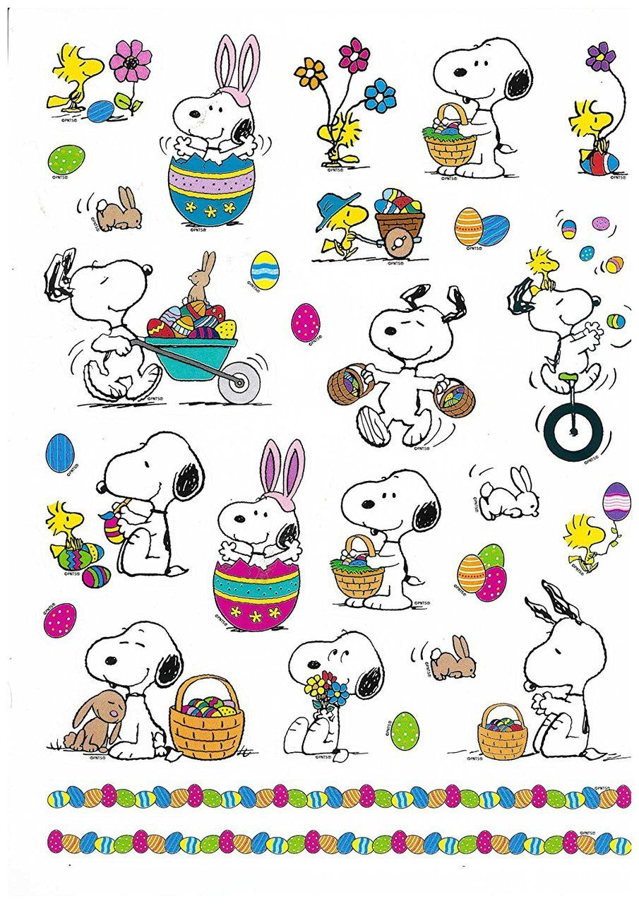 Peanuts Characters Snoopy and Woodstock Easter Stickers, 29 Stickers ...