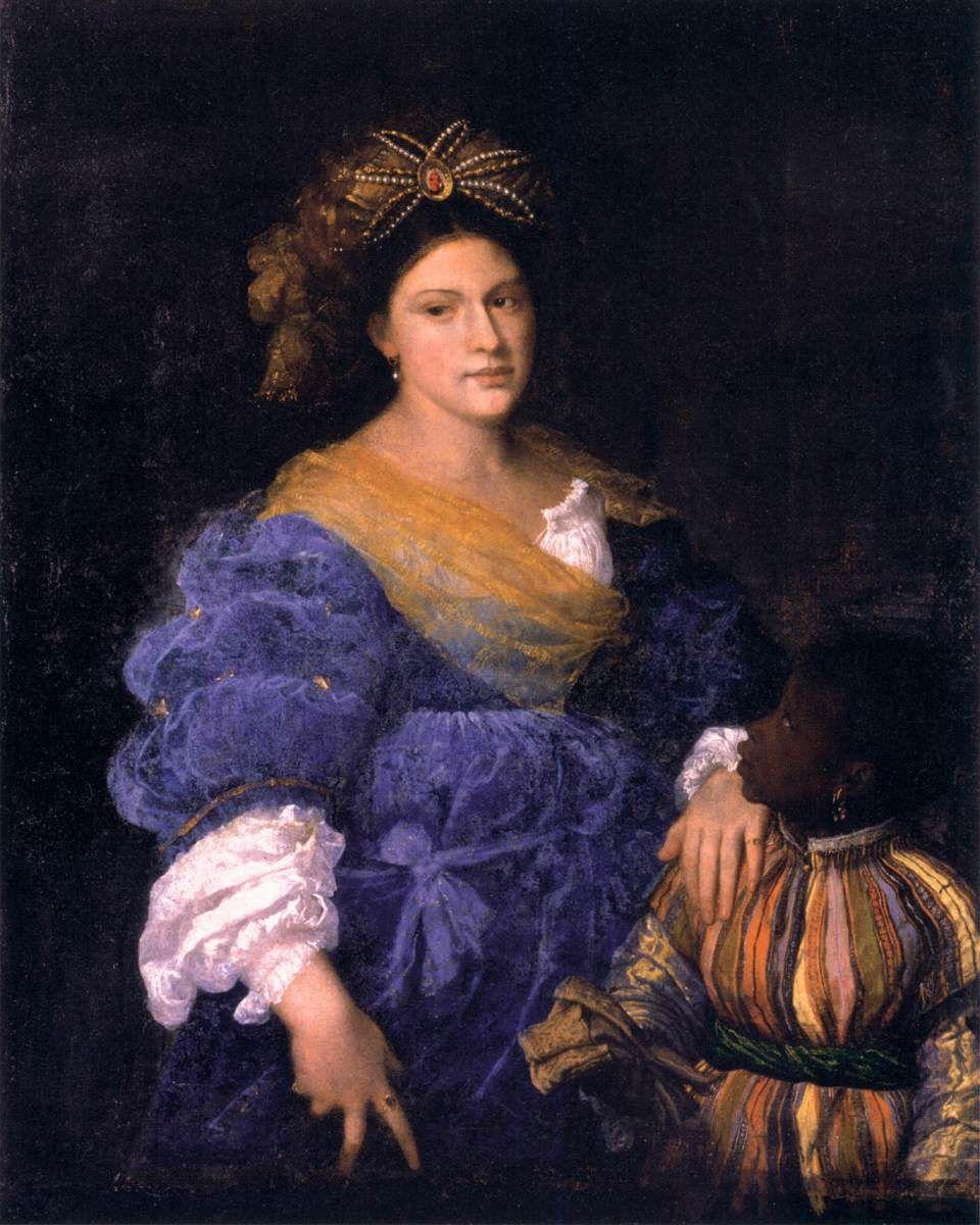 TIZIANO Vecellio  Portrait of Laura Eustochia  c. 1529  Oil on canvas, 118 x 93 cm  Private collection