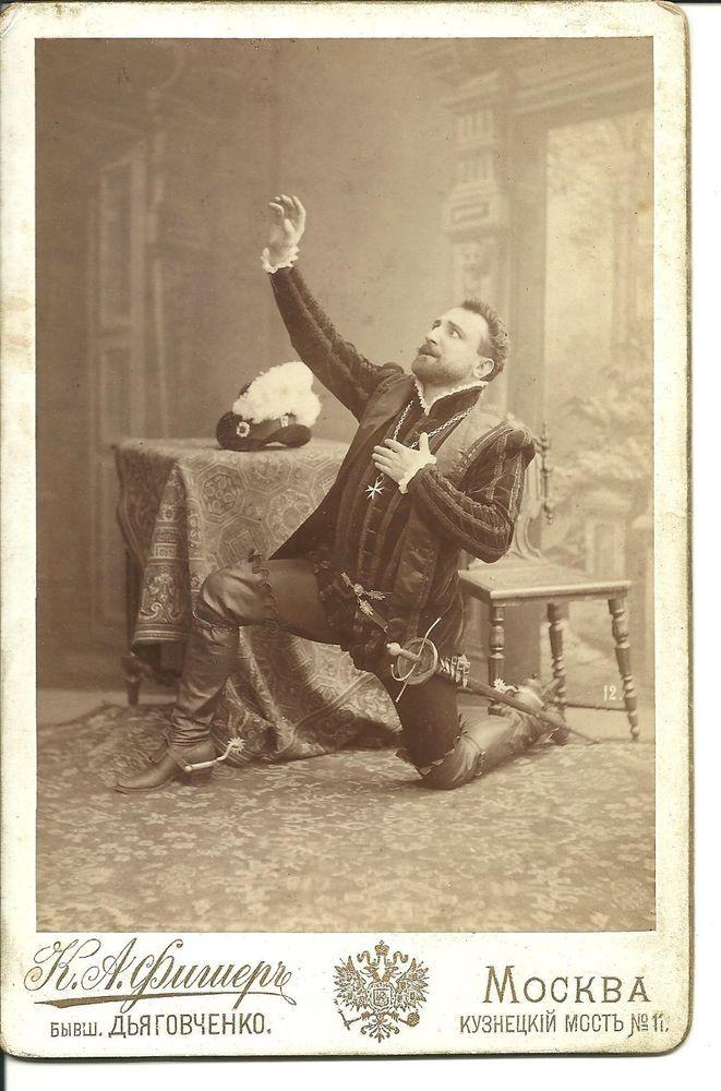 Russian opera Uzin in Don Karlos albumen cabinet photograph,Fisher studio.