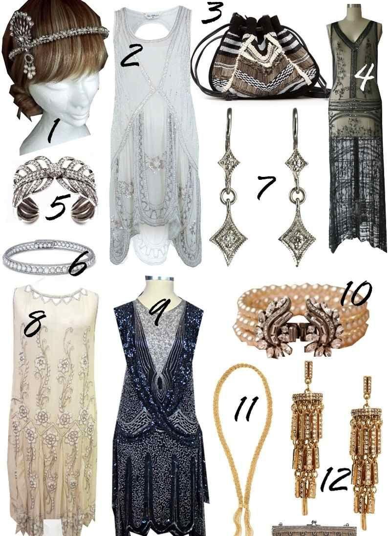 b360de55633f91 Kopf Haarschmuck, Kleider und Ohrringe im vintage Stil Gatsby Frisuren,  20er Frisuren, 20er