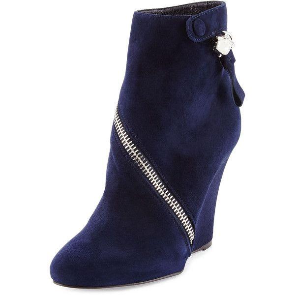navy suede wedge boots