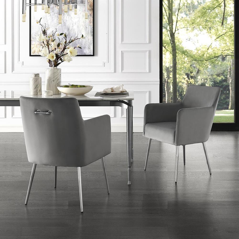 Inspired home capelli light greychrome velvet metal leg