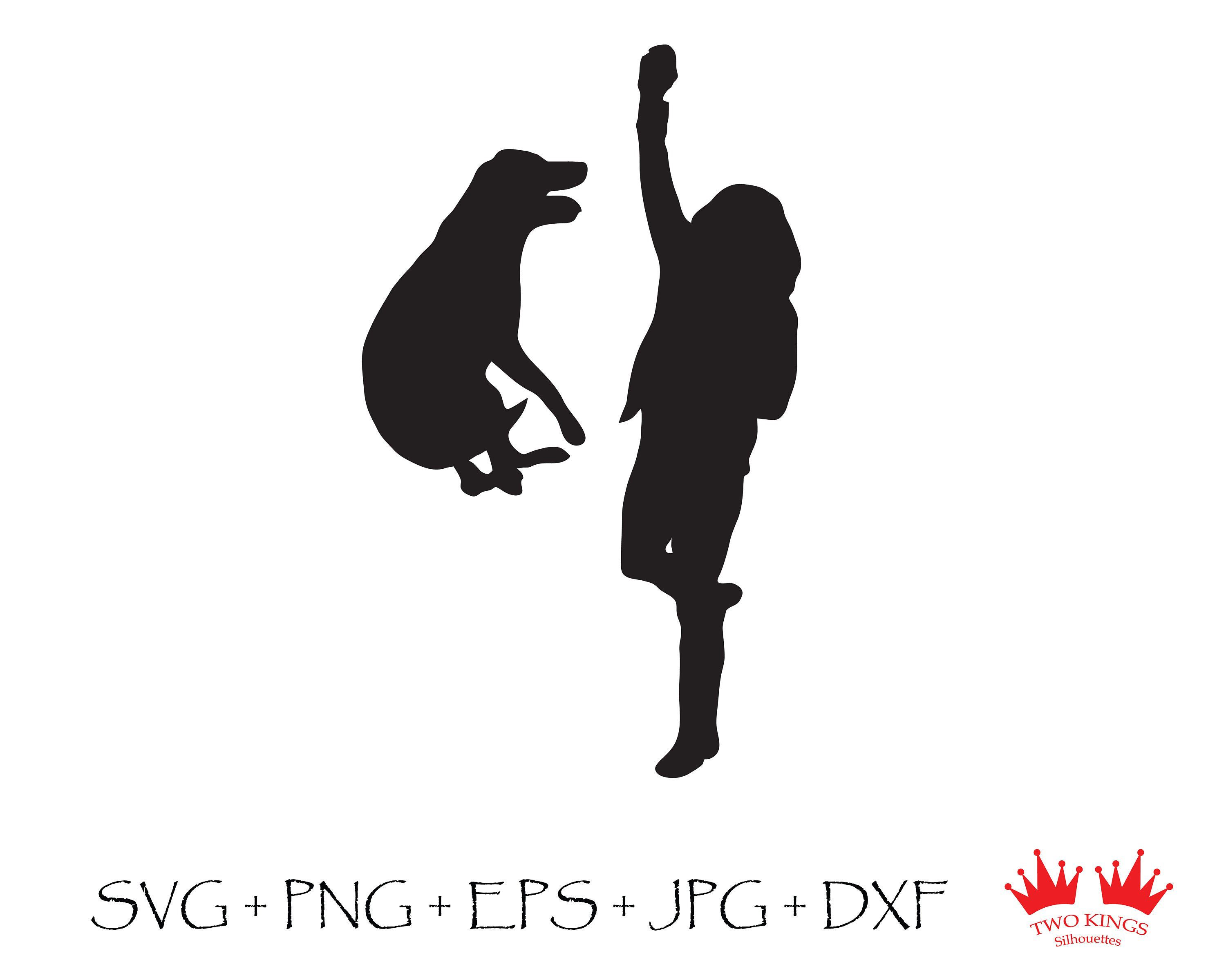 Download Girl with dog black silhouette, Svg file for cricut ...
