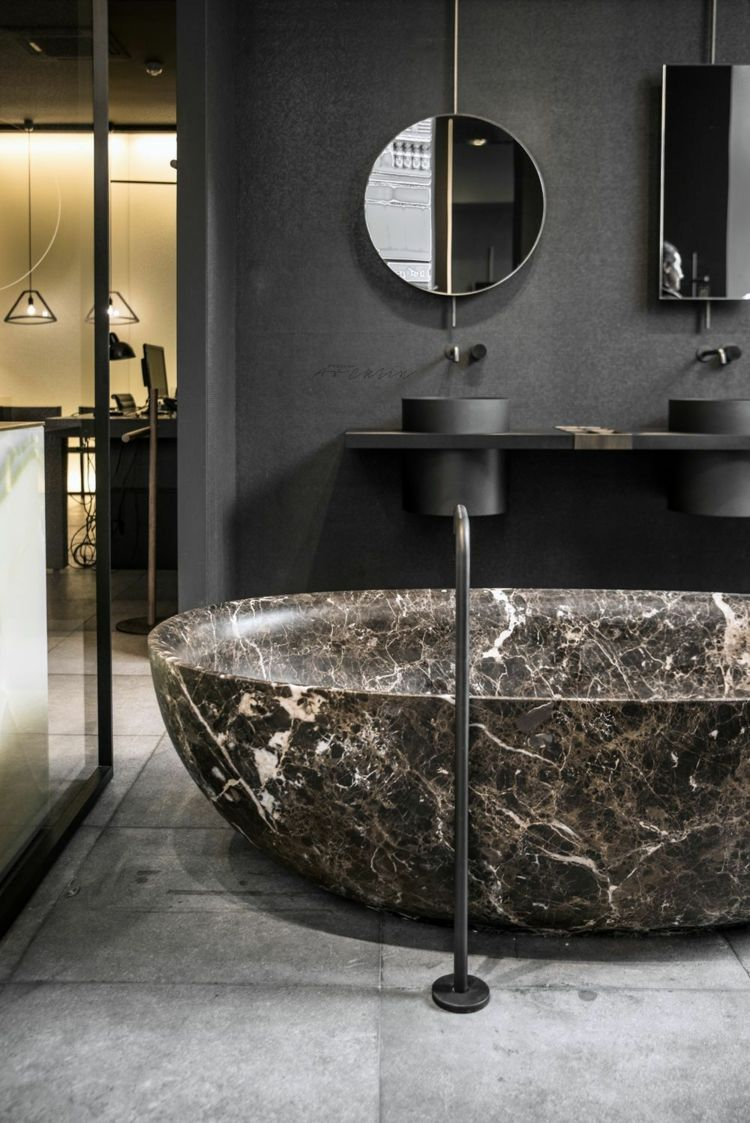 Marmor Badezimmer Schwarz Grau Braun Spiegel Schwarze Badarmaturen  #bathroom #style