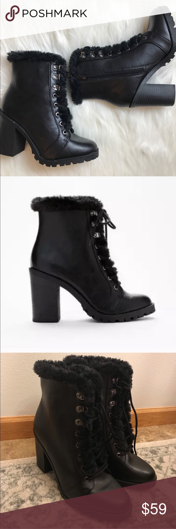 b9b63d561c66 EXPRESS Faux Fur Trim Heeled Combat Boots Brand new with tags! Express lace  up ankle