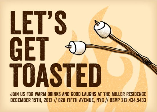 toasted smores holiday party invitation by sarah curry - Bonfire Party Invitations