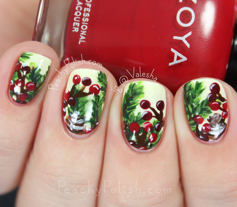 Pine berry nail art peachy polish christmas nail art pine berry nail art peachy polish prinsesfo Images