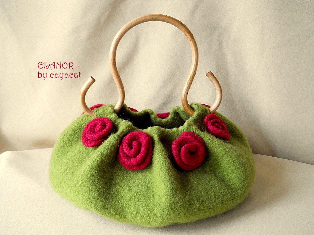 Felted Purse ELANOR, felted handbag, ooak, green felt bag, red roses, flower bag. €79.00, via Etsy.