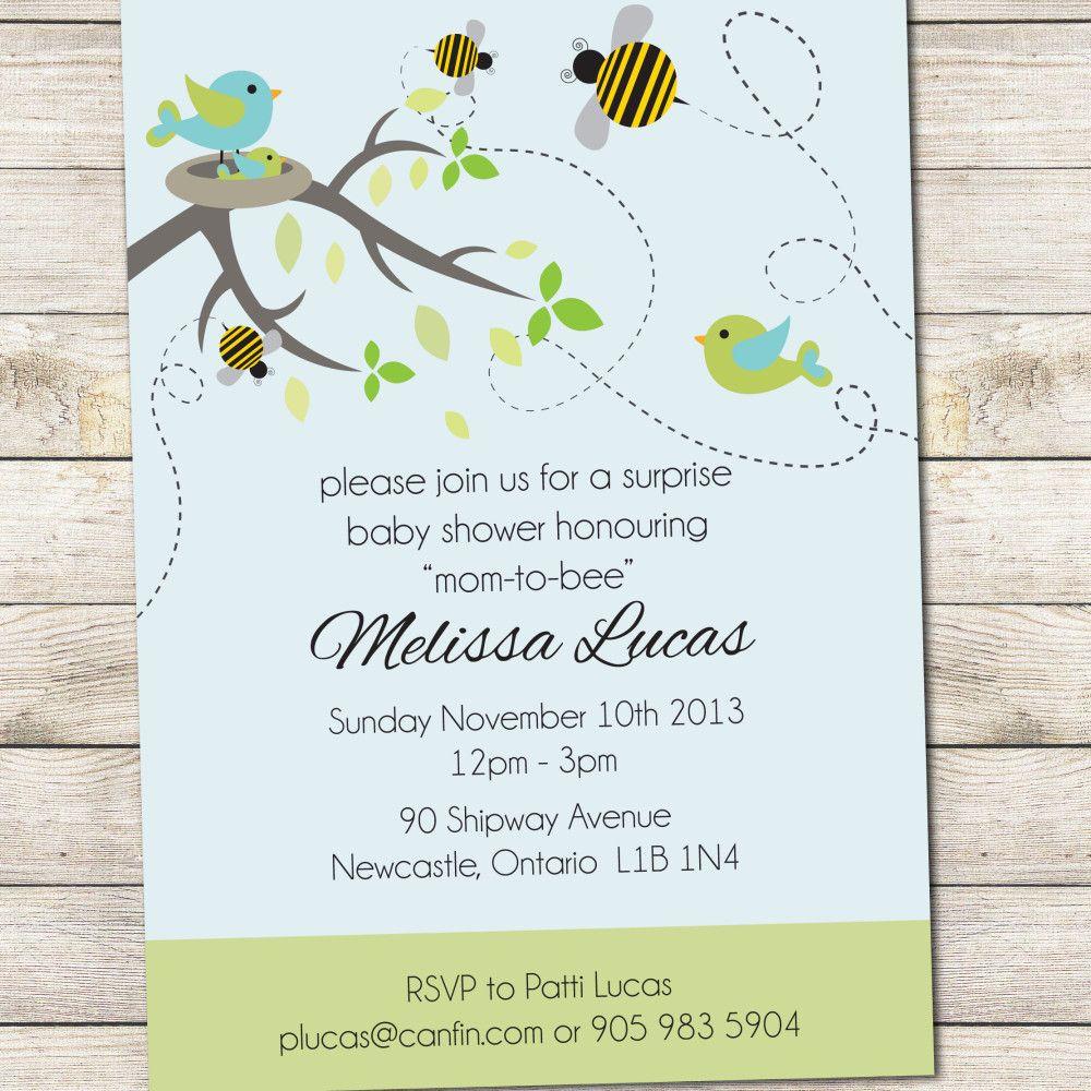 Baby Shower Invite Birds Bees Blue