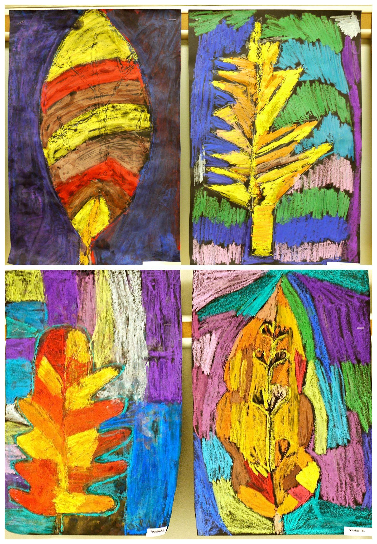 3rd Grade Glue Resist Pastel Leaves