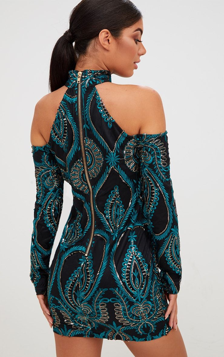 46532c48 Premium Emerald Green Sequin Embroidered Cold Shoulder Bodycon DressLook  glam as hell girl in thi.