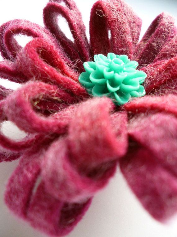 Handmade purple hand dyed felt flower brooch by ColourSplashbyCath, £5.00