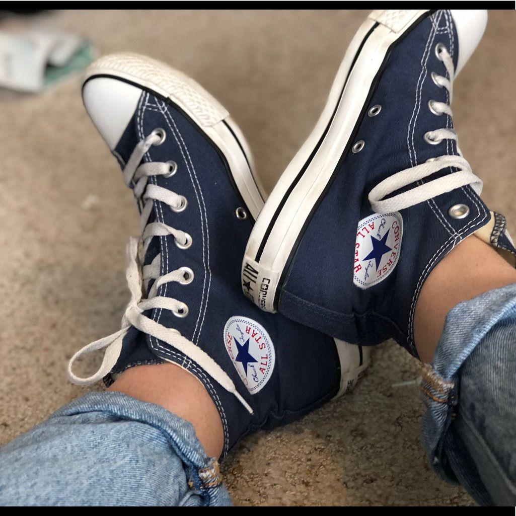 Converse shoes navy blue converse high top womens 8