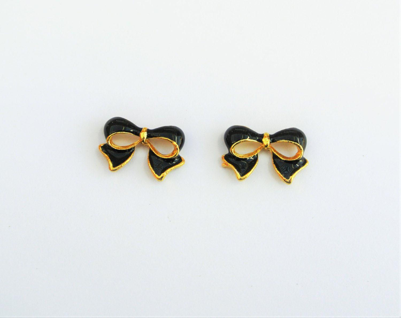 Bow Nail Charm,3d Nail Art,Black Bow Nails,Nail Bling,Nail Jewelry ...