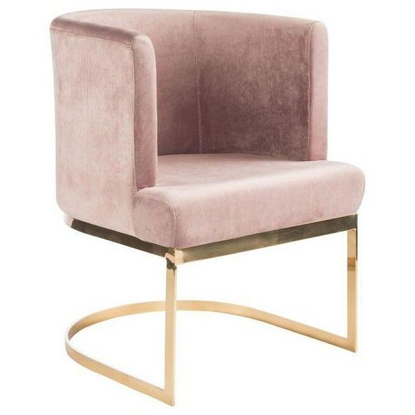 Modern Blush Velvet Gold Circular Accent Chair Liked On