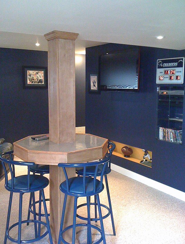 Canadian fan creates chargers man cave basement for Garage pole cover