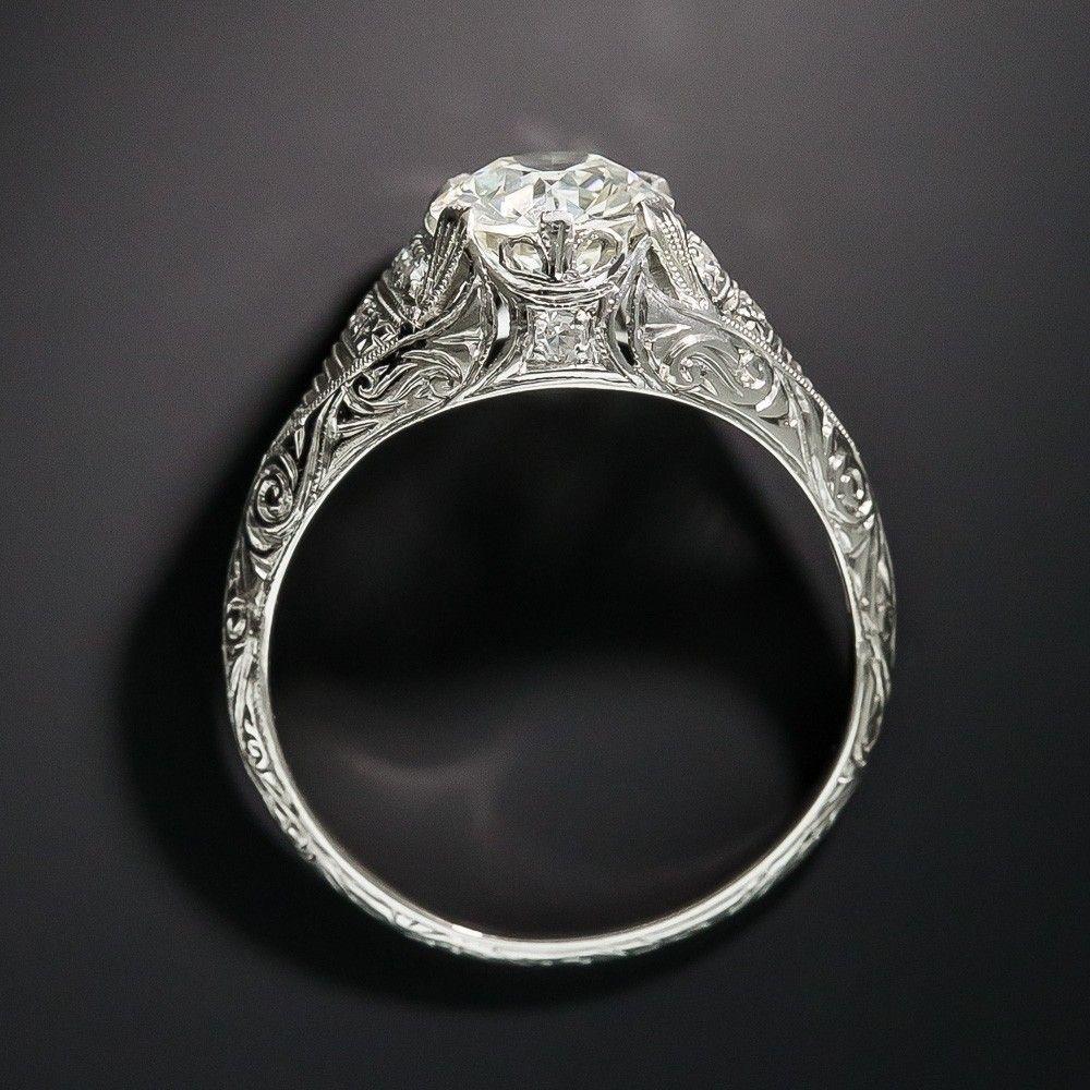 Edwardian/Deco 1.50 Carat Diamond Platinum Engagement Ring