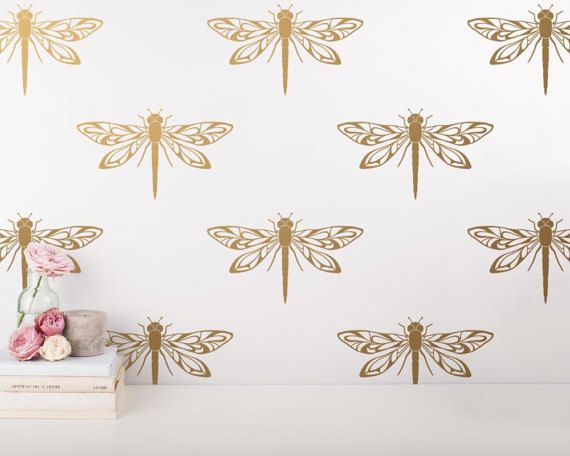 Dragonfly Wall Decals - Modern Wall Stickers, Gold Wall Decals