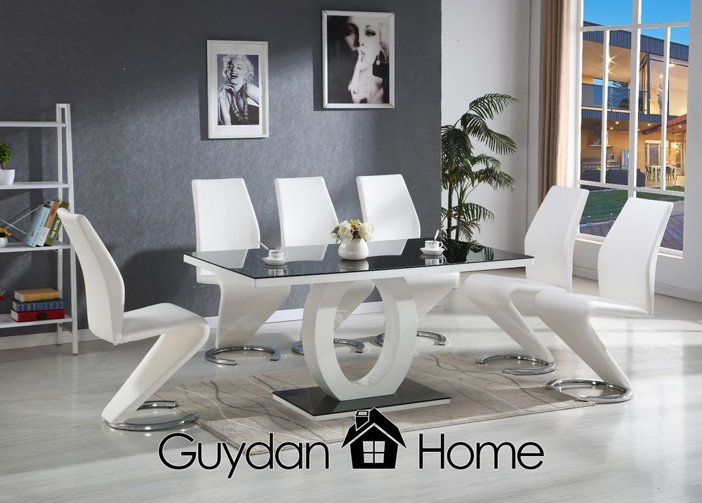 Details About Venice Black White High Gloss Glass Dining Table