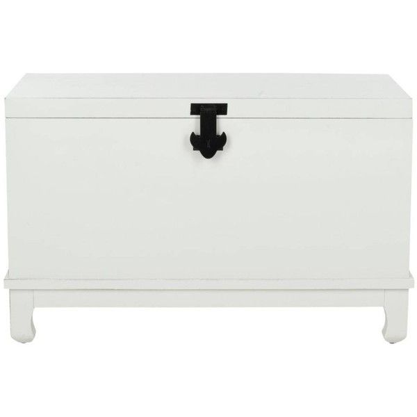 Safavieh Wesley Chest Shady White ($162) ❤ liked on Polyvore featuring home, furniture, storage & shelves, dressers, white furniture, white storage trunk, home storage furniture, storage furniture and safavieh home furniture