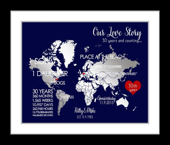 Silver Wedding Anniversary Gifts For Him: Maps For Any Year Or 25th Anniversary Silver Gift, Parents
