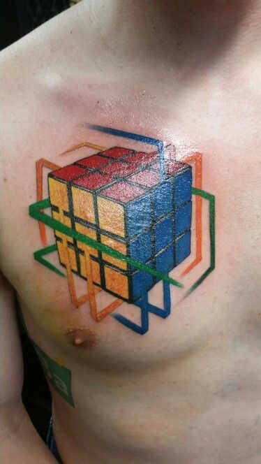 rubiks cube tattoo done by darnell waine at dallas tattoo and art company tattoo ideas. Black Bedroom Furniture Sets. Home Design Ideas
