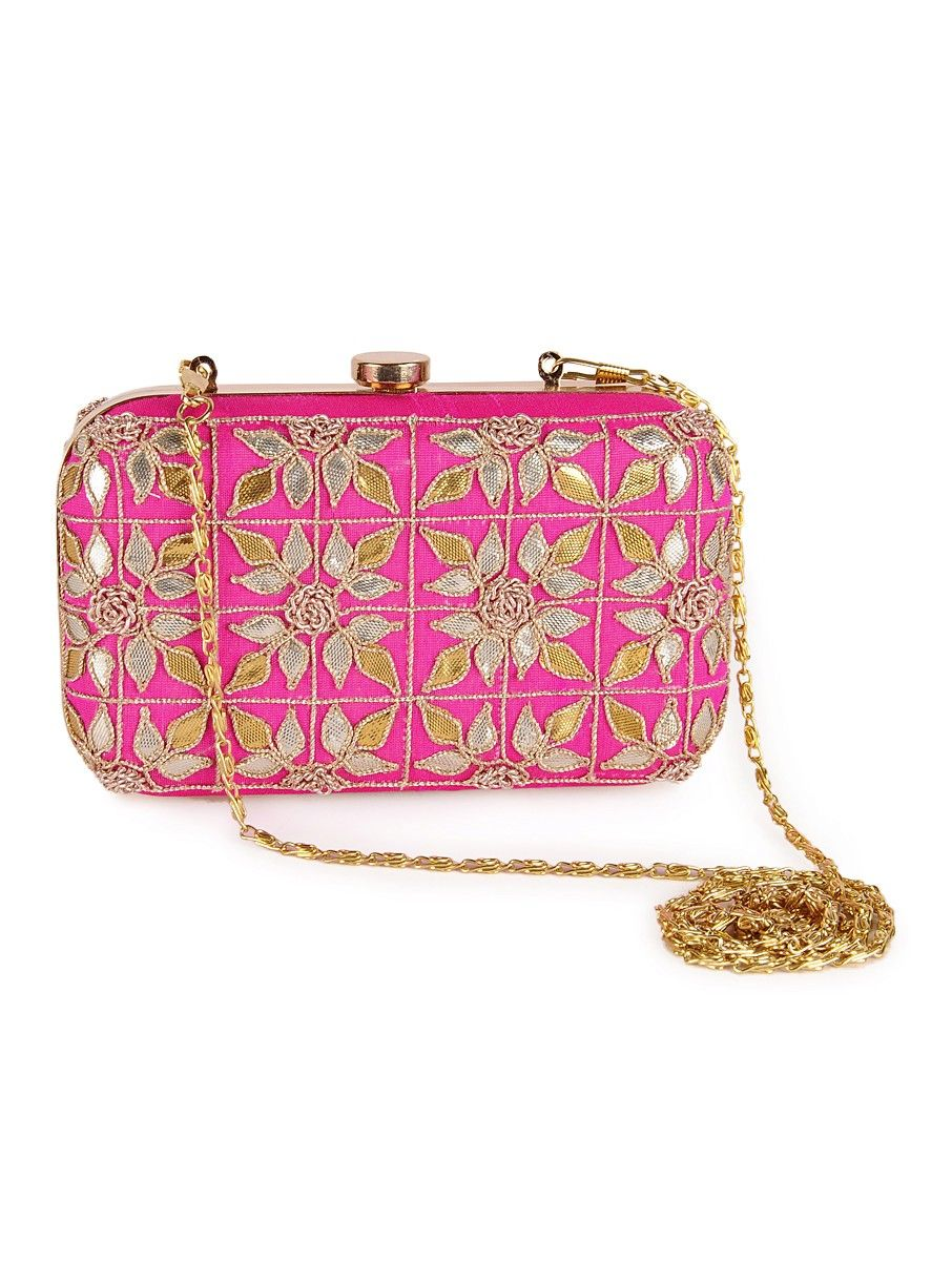 11de22f6fc Buy Pink Golden Silver Floral Gota Embellished with Detachable String Clutch  Metal Box Dupion Accessories Bags   Belts Online at Jaypore.com