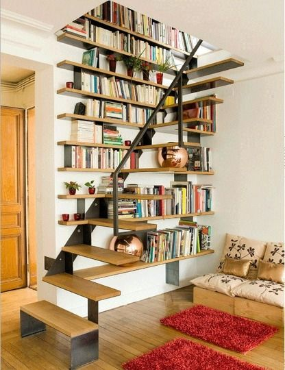 Floating stair with bookshelves