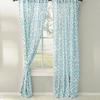 These aqua darby curtain panels feature a stylish ikat print in a soft shade of aqua blue and cream youll love how the chic pattern updates your home