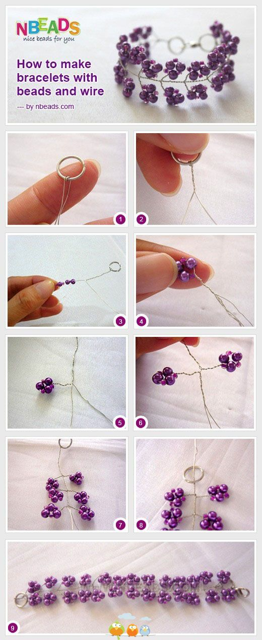 How to make a bracelet with beads and wire. Easy! | bracelets ...
