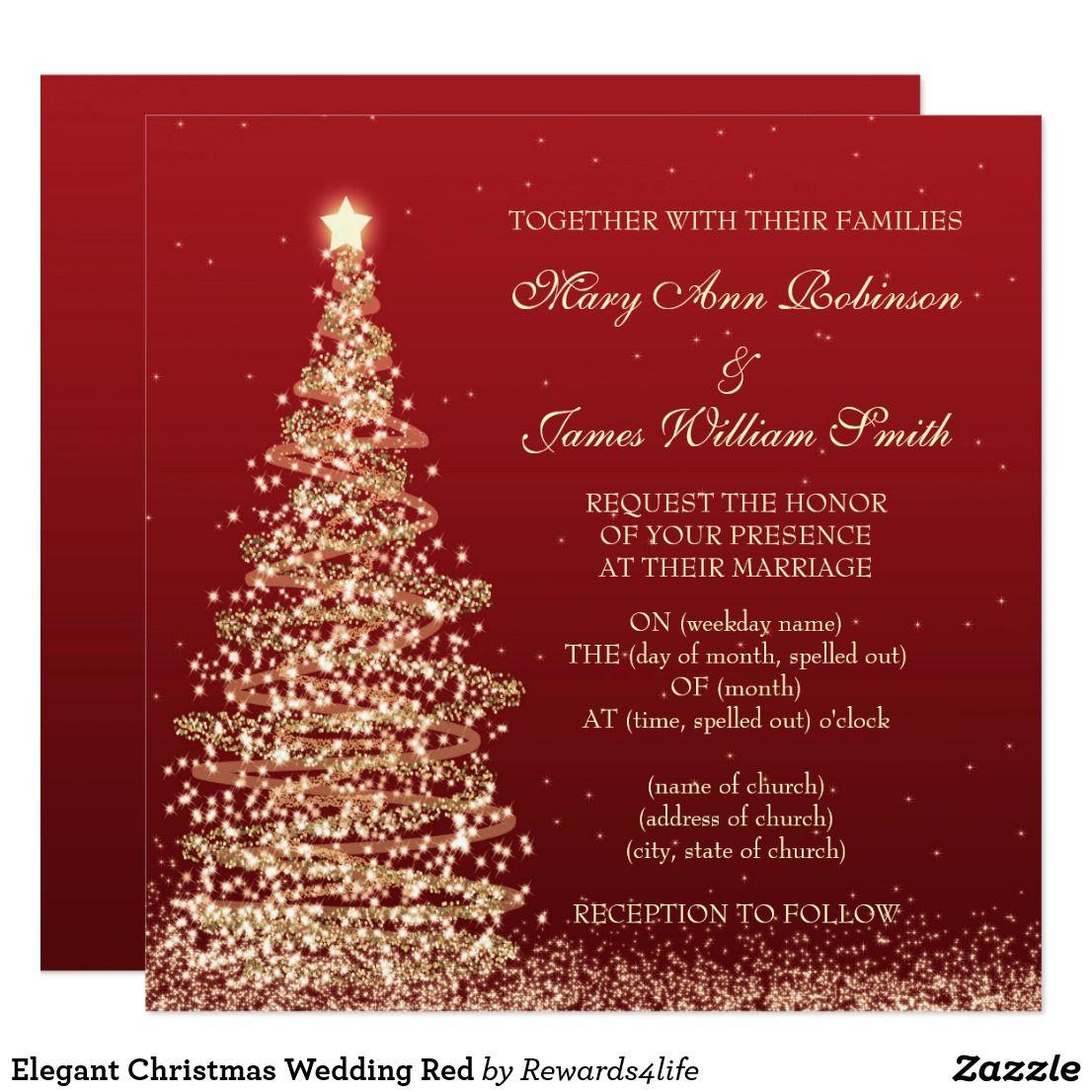 Elegant Christmas Wedding Red Card | Holidays, Celebrations, Events ...